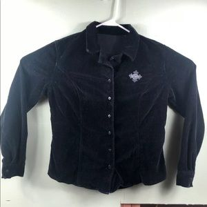 Motor Harley Davidson Clothes Suede Button Down
